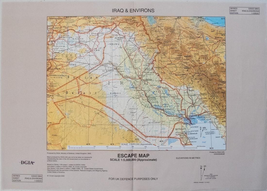 2002 British Escape Map of Iraq -- Iraq & Environs