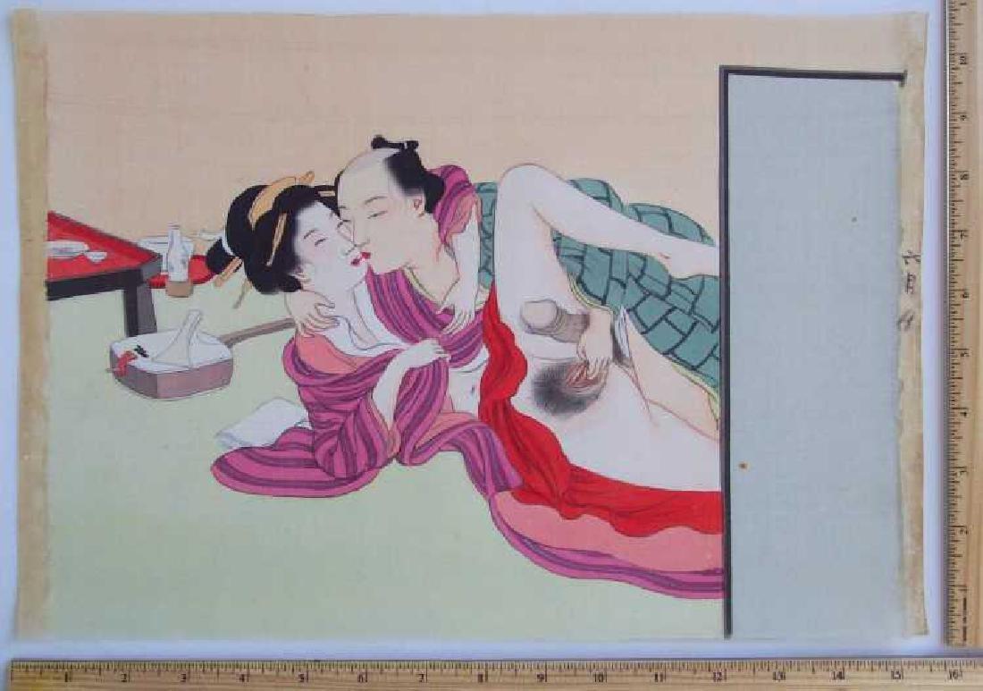 Eisen Tomioka Silk Painting Shunga Poetic Intercourse