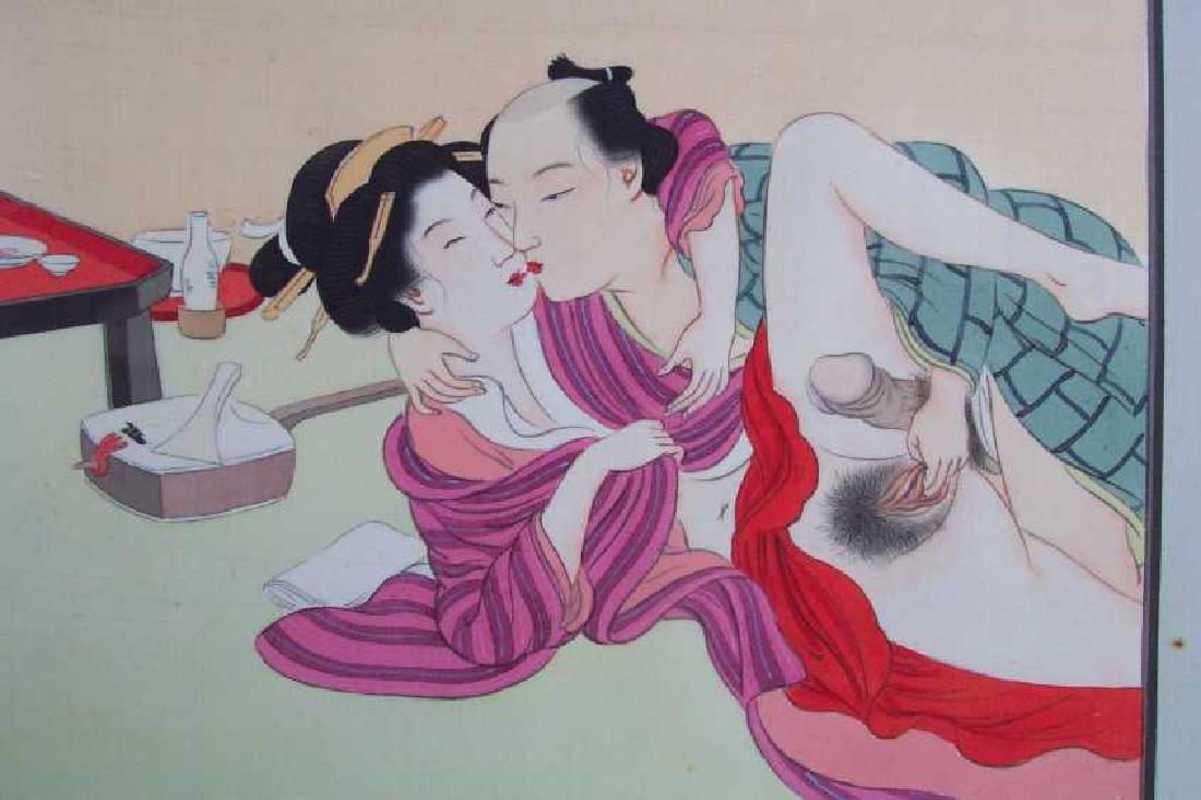 Eisen Tomioka Silk Painting Shunga Poetic Intercourse - 2