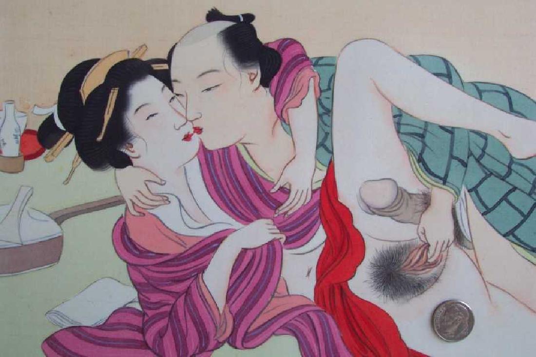 Eisen Tomioka Silk Painting Shunga Poetic Intercourse - 3