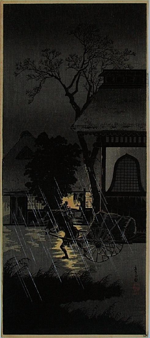 Hiroaki Takahashi Shotei Woodblock Night Rain Asagaya