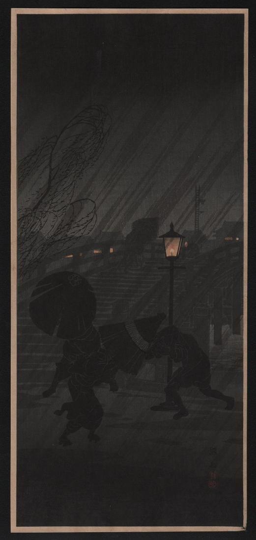 Hiroaki Takahashi Shotei Woodblock Sudden Night Rain