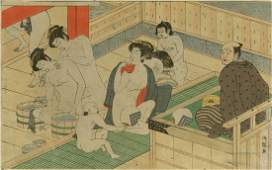 Isoda Koryusai Woodblock The Bath House