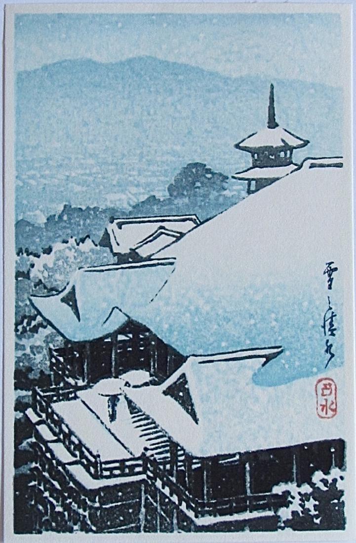 Kawase Hasui Woodblock Bird's Eye View Kiyomizu Temple