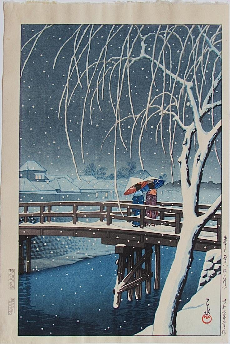 Kawase Hasui Woodblock Evening Snow (Edo River)
