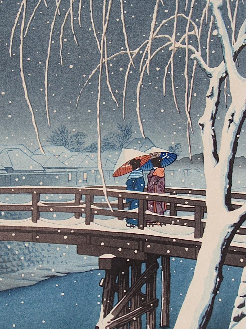 Kawase Hasui Woodblock Evening Snow (Edo River) - 2