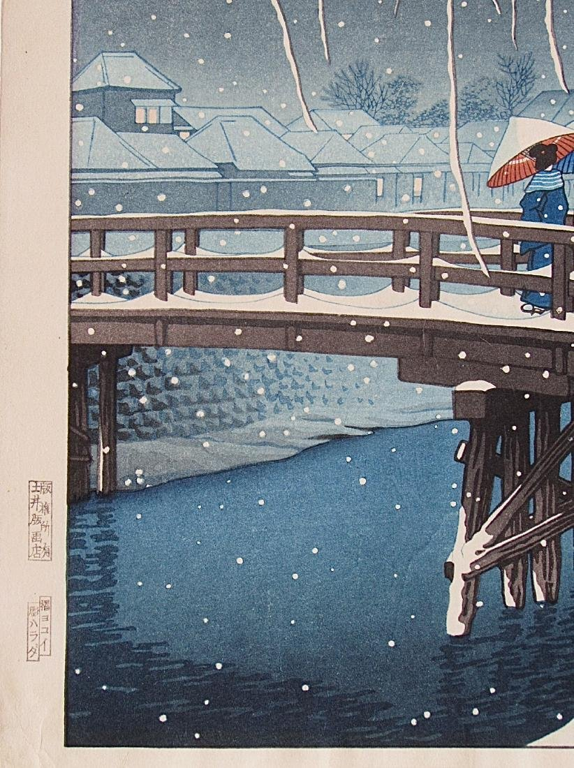Kawase Hasui Woodblock Evening Snow (Edo River) - 3