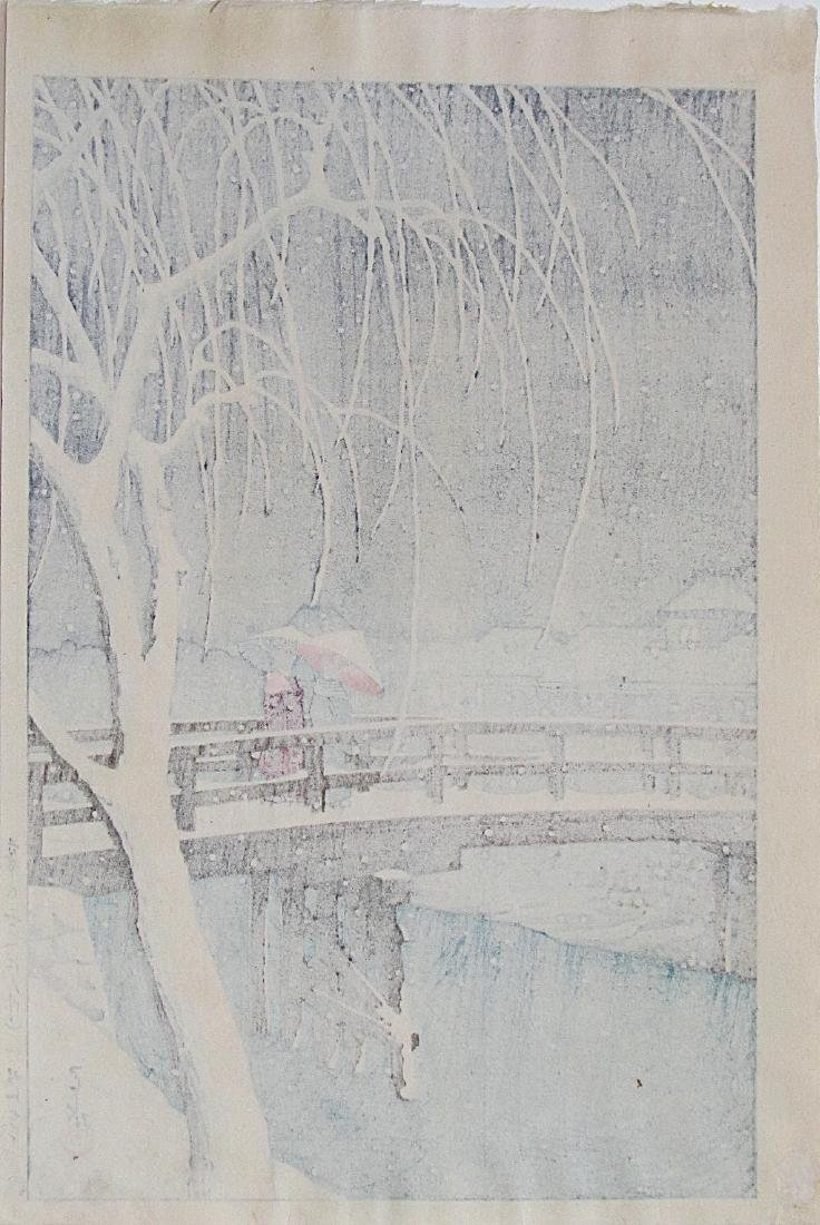 Kawase Hasui Woodblock Evening Snow (Edo River) - 4