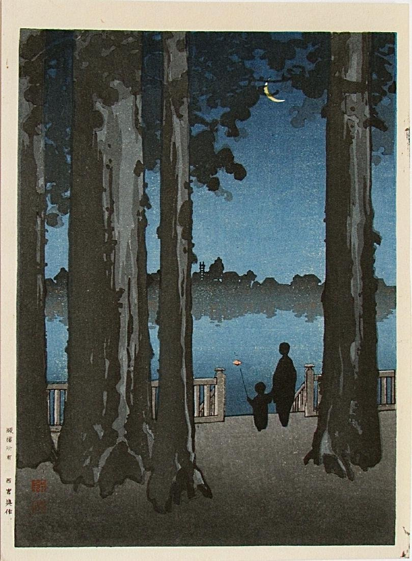 Koho Shoda Woodblock Ueno Park at Night