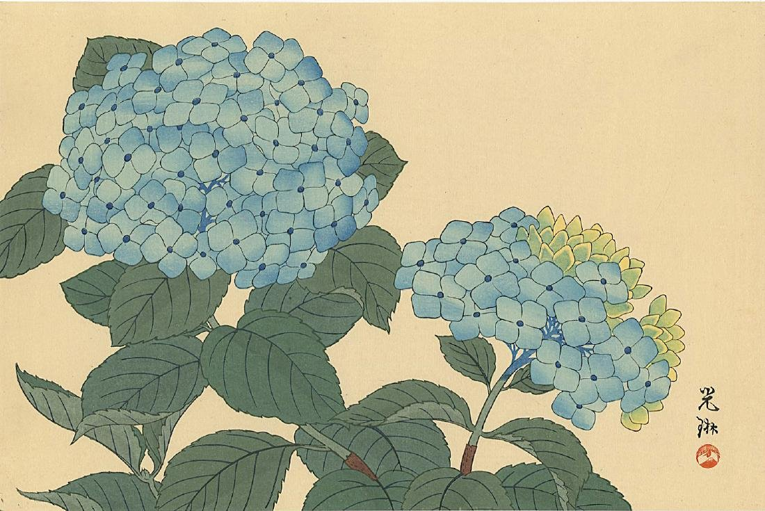 Ogata Korin Woodblock Hydrangea