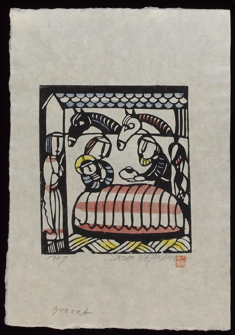 Sadao Watanabe Woodblock The Nativity