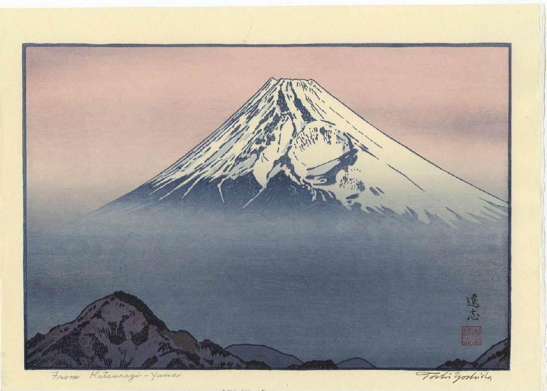Toshi Yoshida Woodblock Mt. Fuji from Mt. Katsuragi