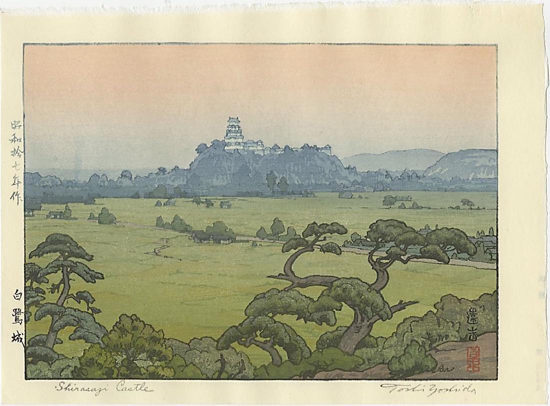 Toshi Yoshida Woodblock Shirasagi Castle