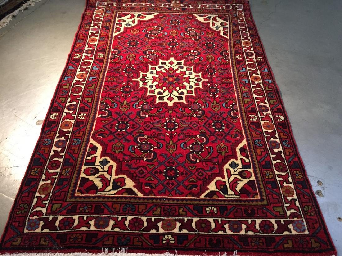 Authentic Hand Knotted Persian Hamadan Rug 3.3x4.6