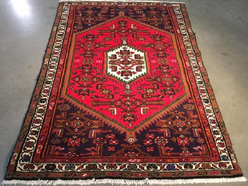 Authentic Hand Knotted Persian Hamadan Rug 3.5x4.10