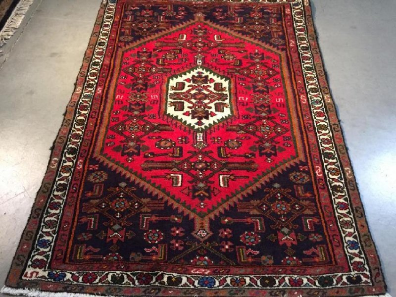 Authentic Hand Knotted Persian Hamadan Rug 3.5x4.10 - 4