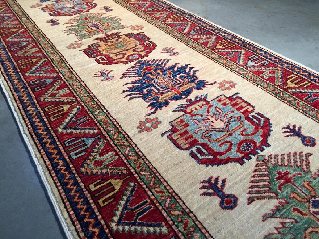 Fine Hand Knotted Wool Afghan Kazak Runner Rug 2.10x9.3 - 4
