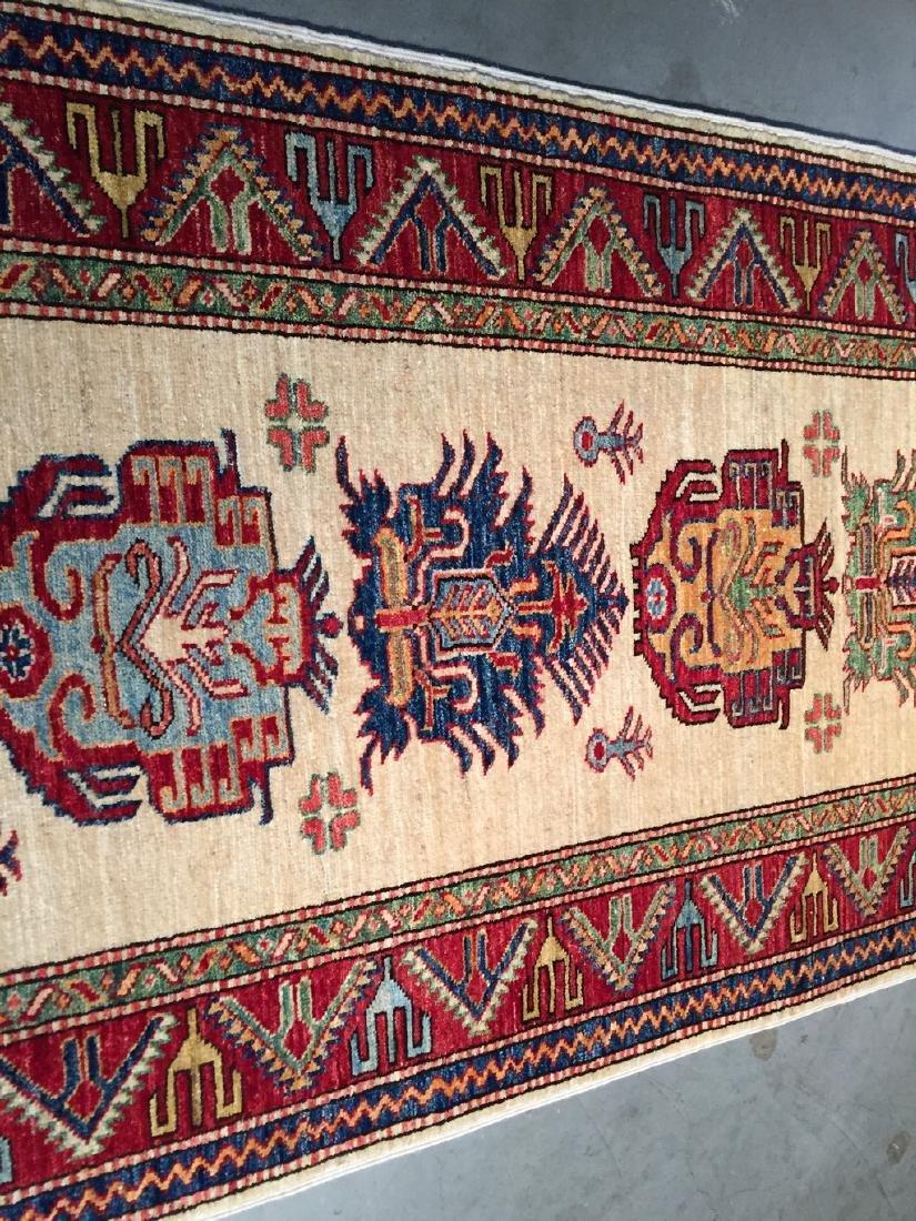 Fine Hand Knotted Wool Afghan Kazak Runner Rug 2.10x9.3 - 5