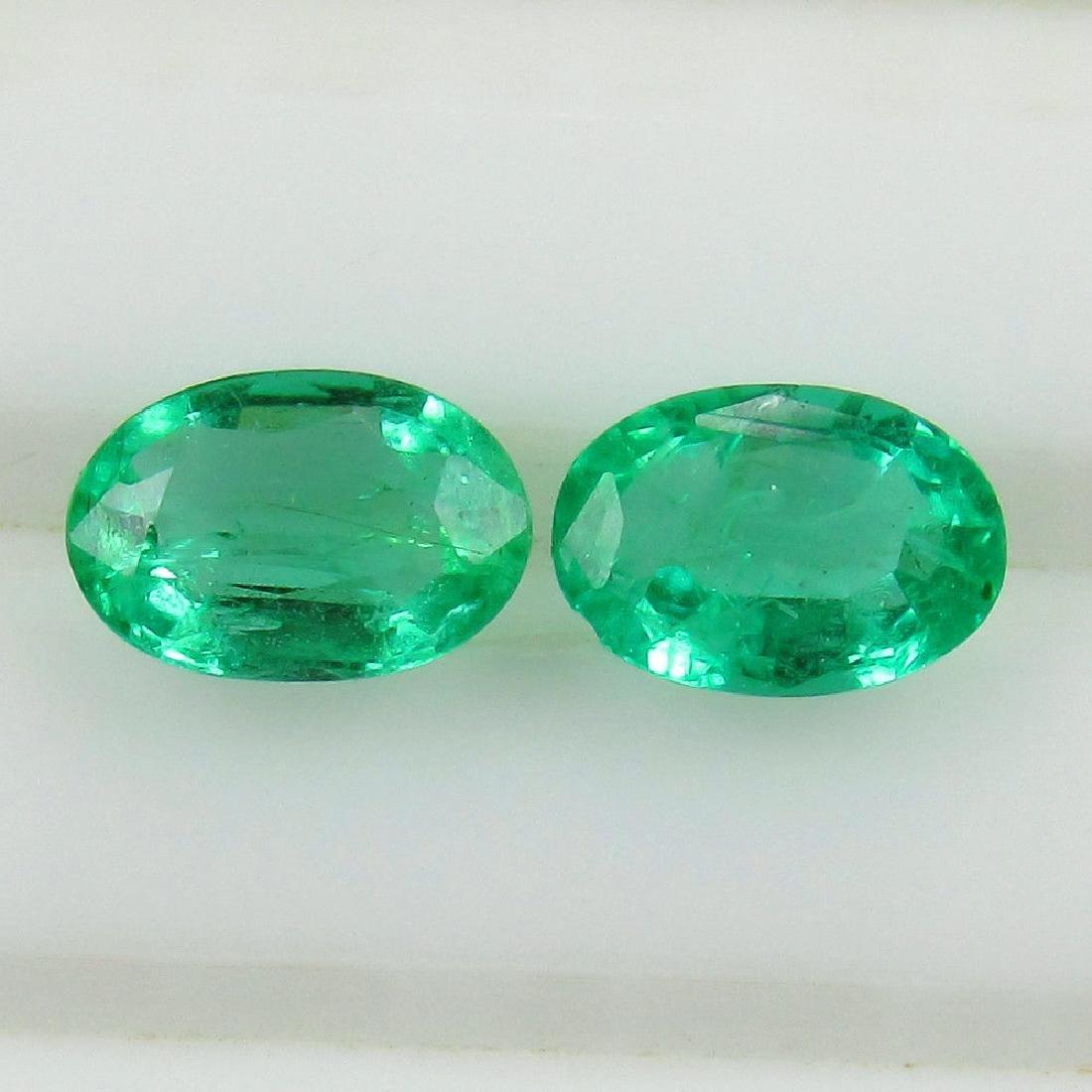 0.83 Carat Natural Zambian Emerald Oval Pair