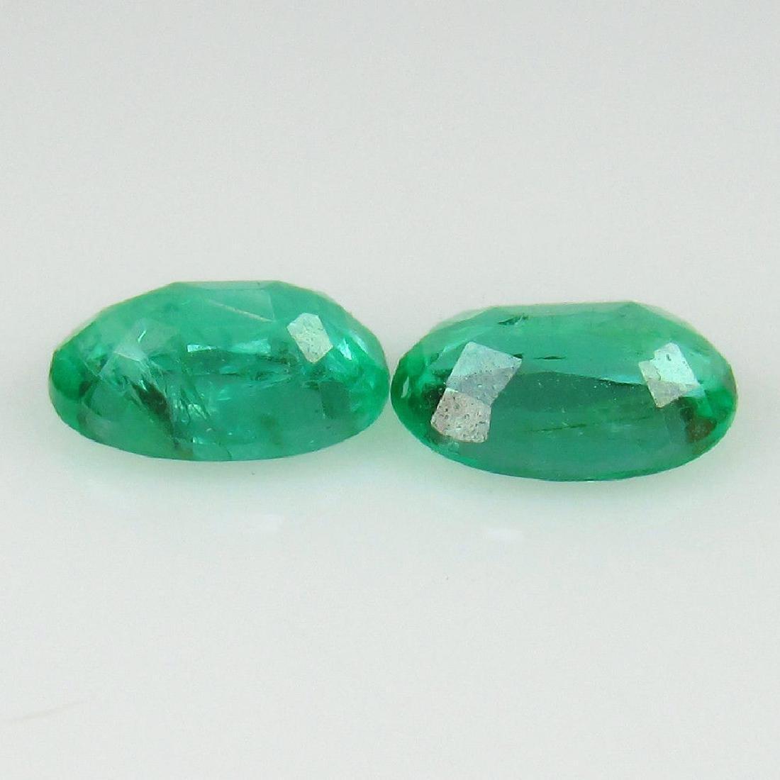 0.83 Carat Natural Zambian Emerald Oval Pair - 2