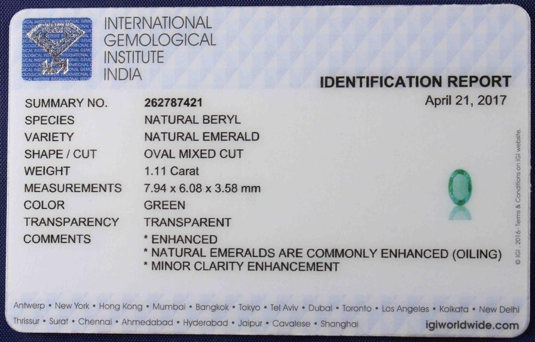 1.11 Carat Loose Emerald with IGI Certificate - 4