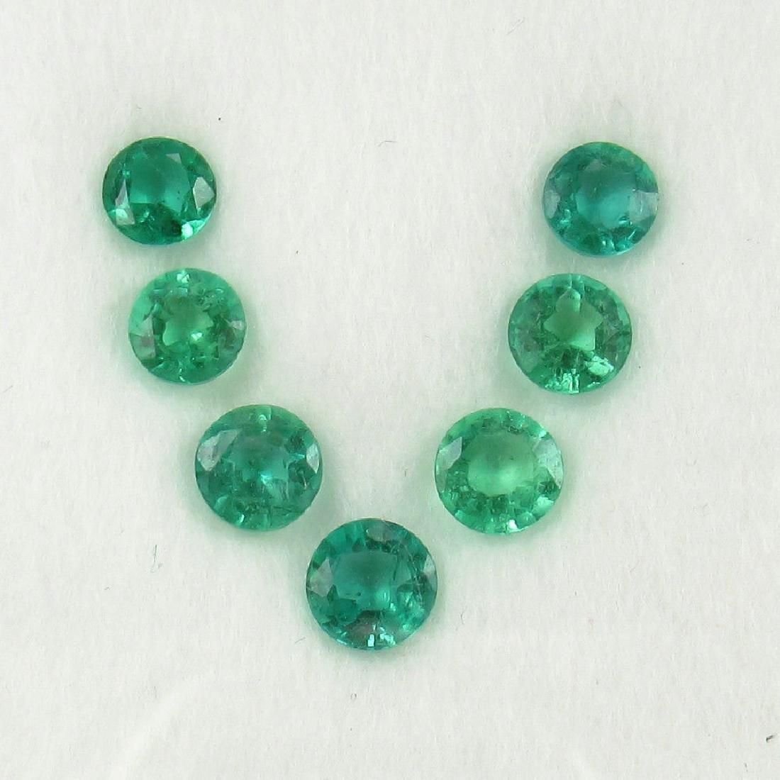 2.15 Carat Natural 7 Loose Emerald Round Set