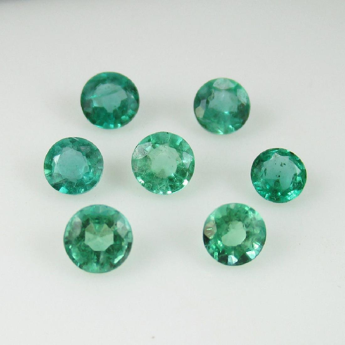 2.15 Carat Natural 7 Loose Emerald Round Set - 2