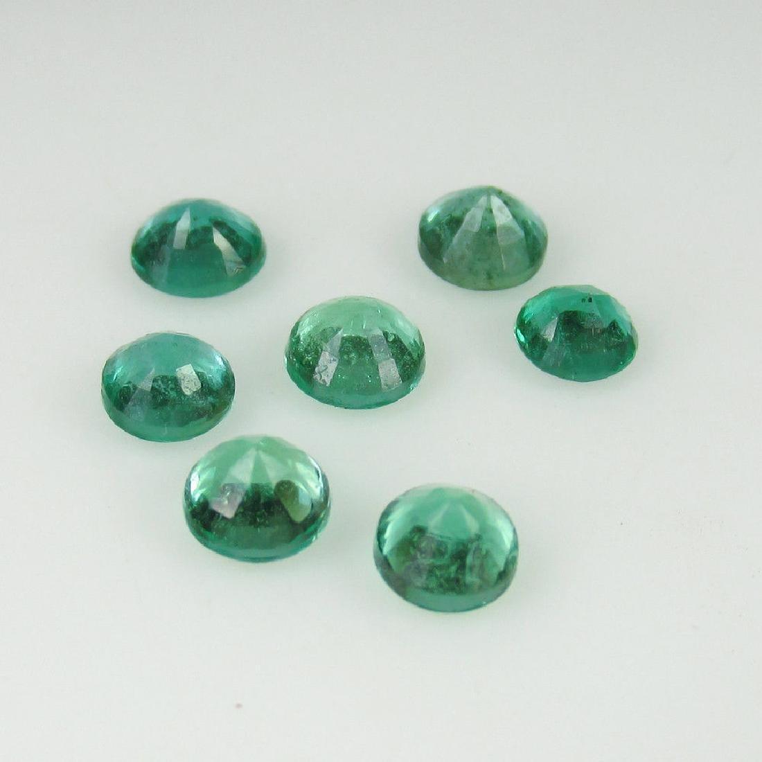 2.15 Carat Natural 7 Loose Emerald Round Set - 3