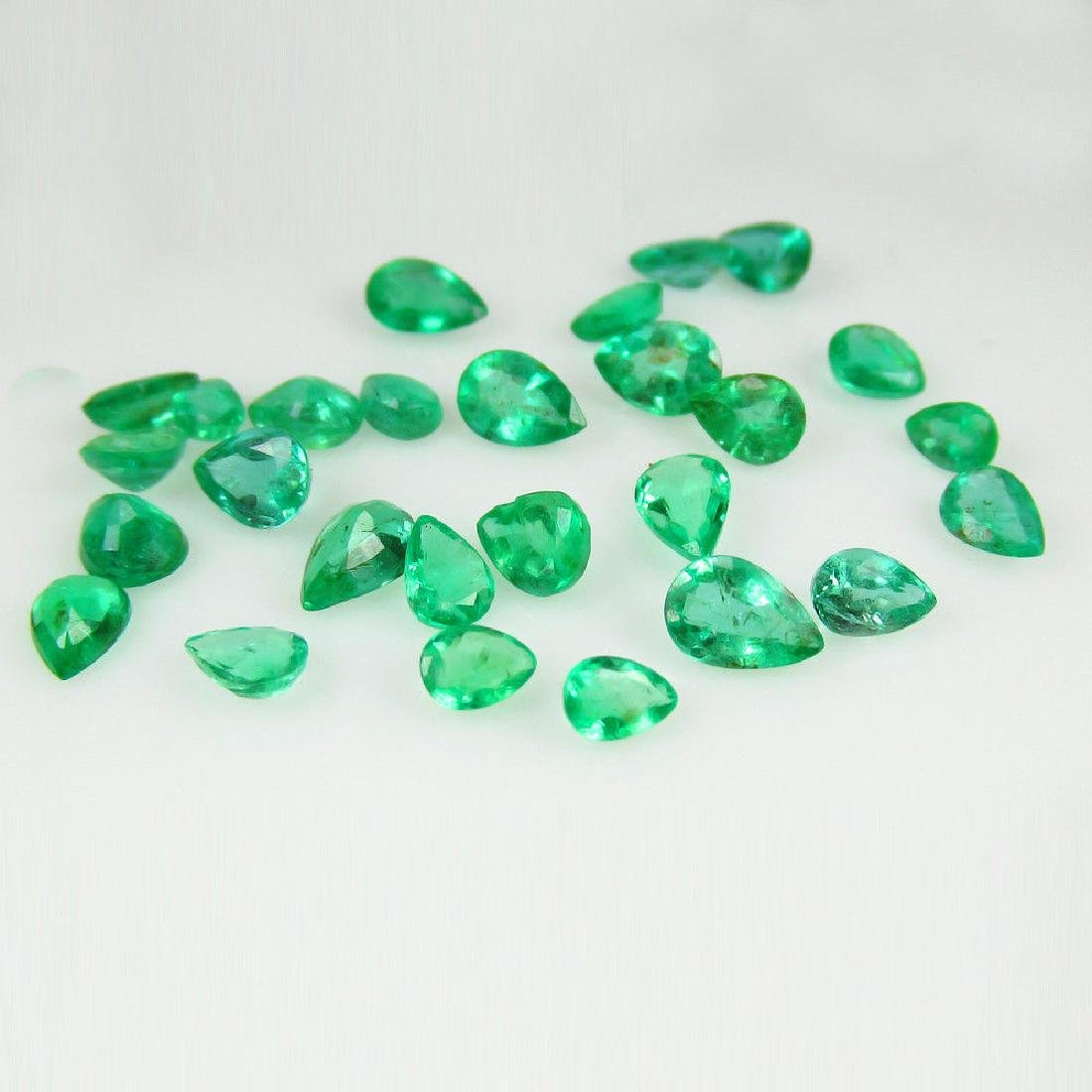 6.58 Carat 27 Loose Emeralds Pear cut Lot