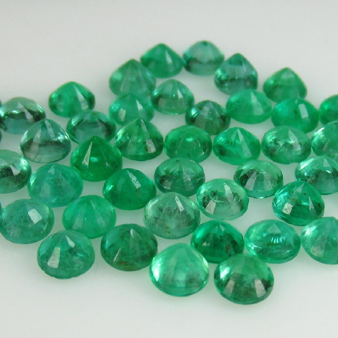 "10.10 Carat 47 Loose Round ""Diamond cut"" Emeralds - 2"