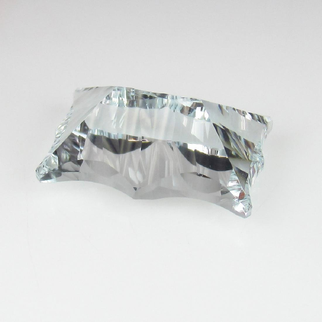 6.63 Carat Loose Very Rare Concave cut Aquamarine - 5