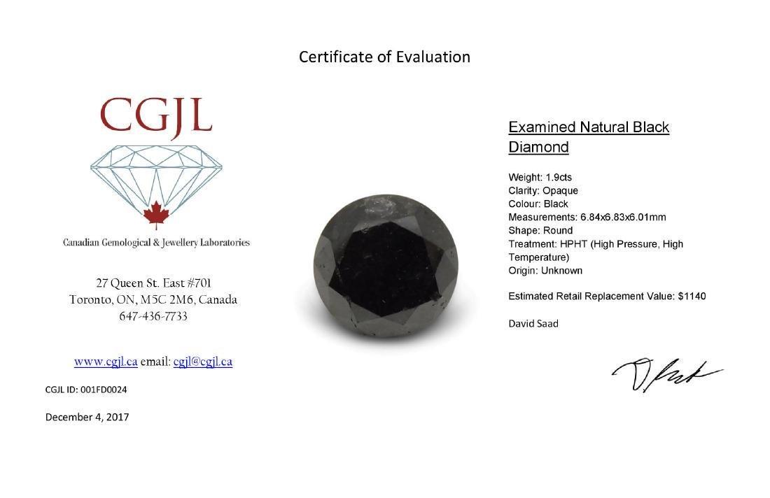 1.9 Carat Loose Round Black Diamond - 8