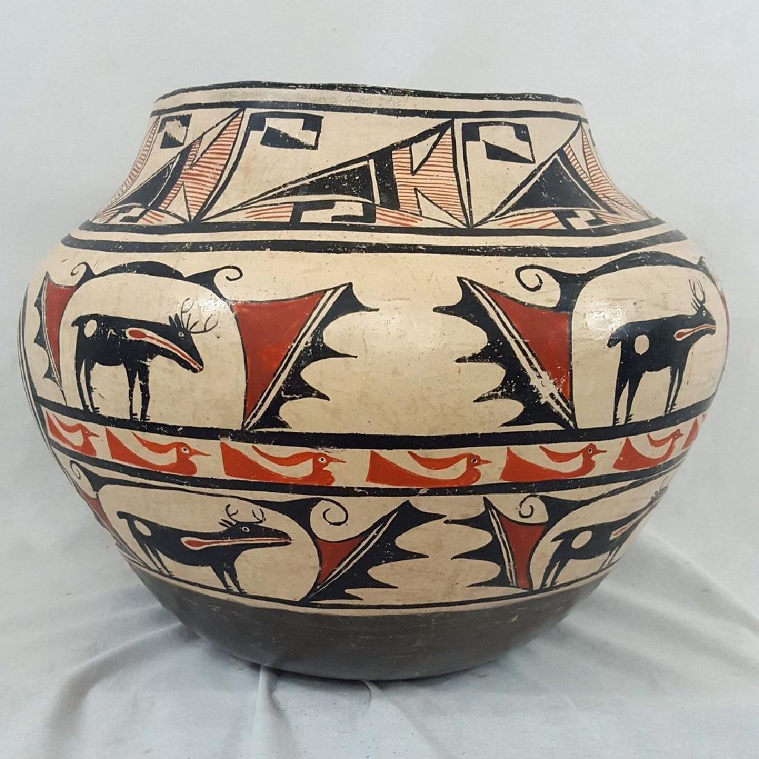 Large Zuni Style Pueblo Pottery Double Heartline 1930's