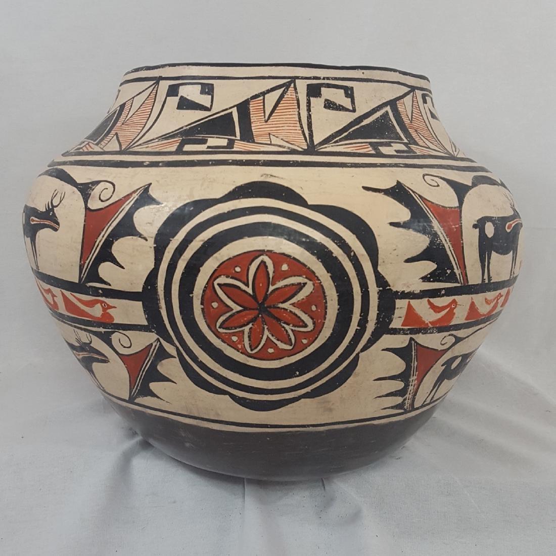 Large Zuni Style Pueblo Pottery Double Heartline 1930's - 4