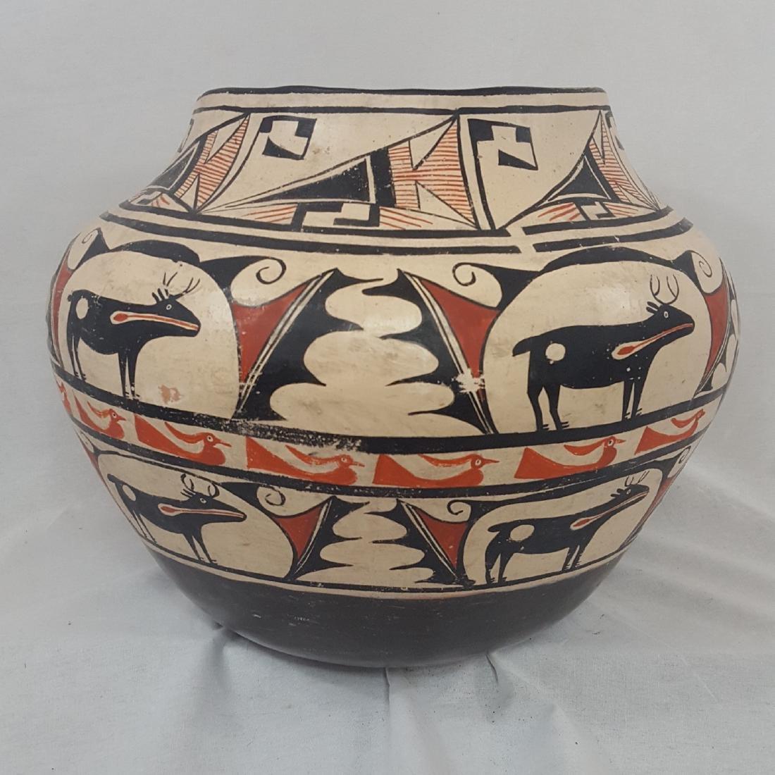 Large Zuni Style Pueblo Pottery Double Heartline 1930's - 6