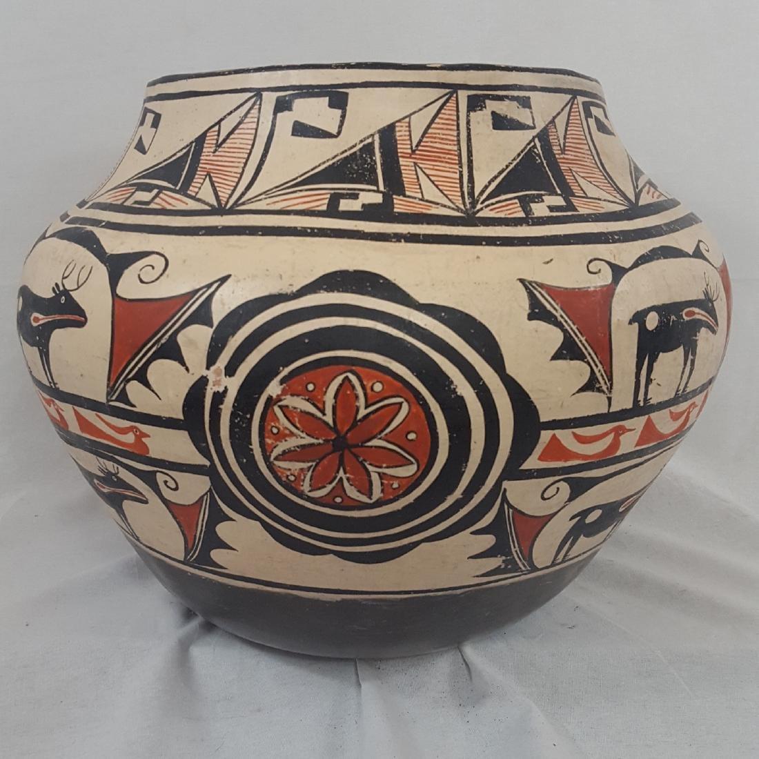 Large Zuni Style Pueblo Pottery Double Heartline 1930's - 7
