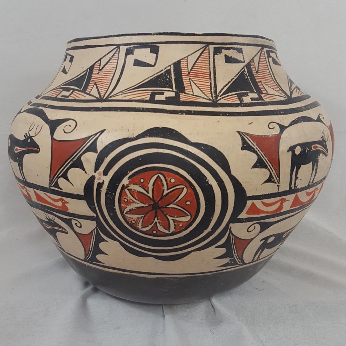 Large Zuni Style Pueblo Pottery Double Heartline 1930's - 8