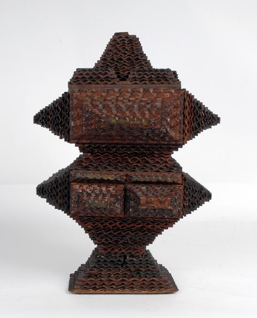 Tramp Art Pedestal Box Circa 1880's
