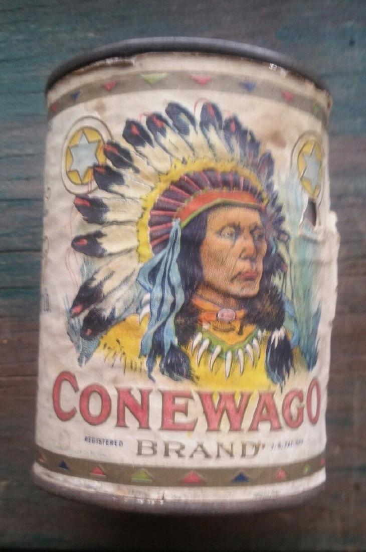 Conewago Sugar Corn Tin Can Indian Full Headdress Chief