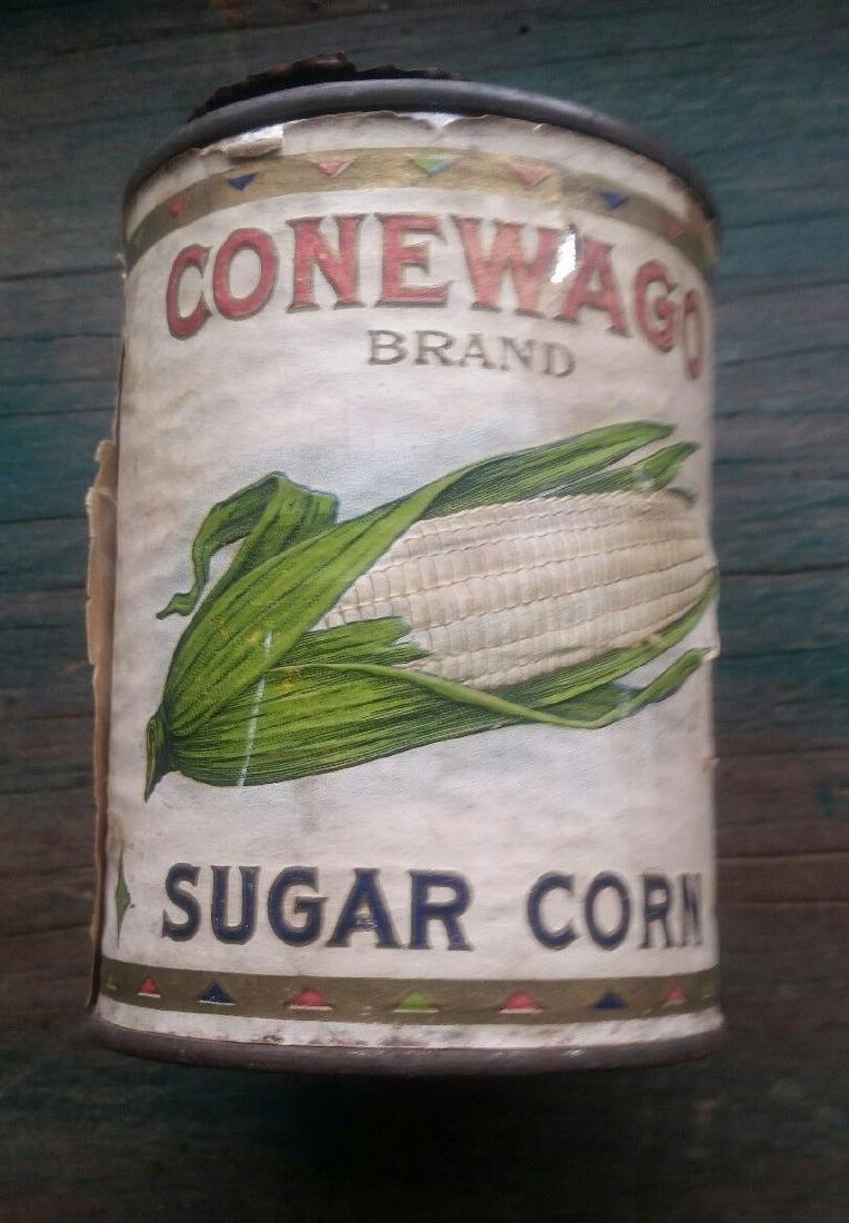 Conewago Sugar Corn Tin Can Indian Full Headdress Chief - 2