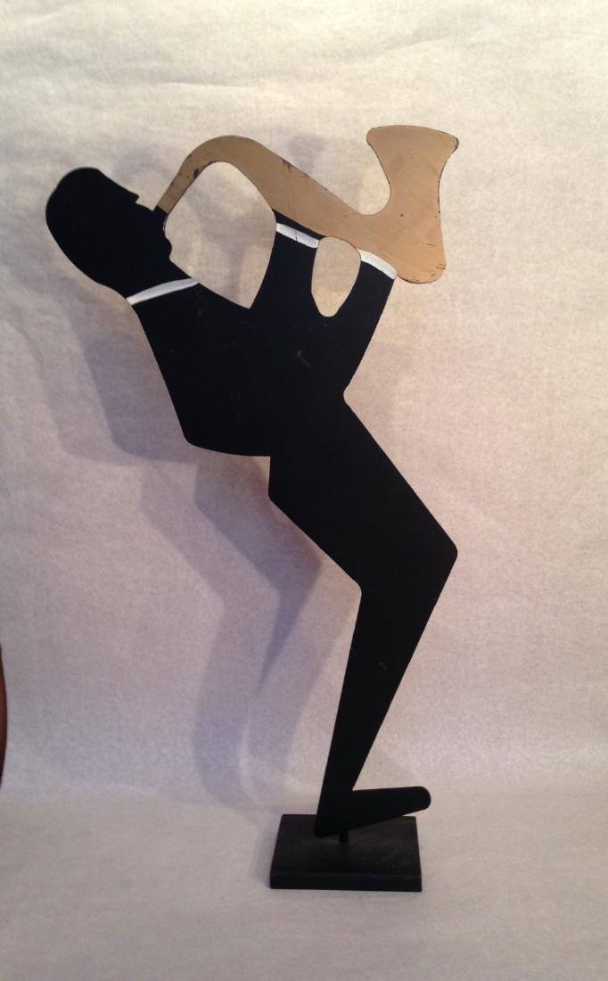 Modern Iron Sculpture Sax Player