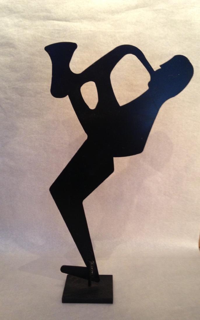 Modern Iron Sculpture Sax Player - 3