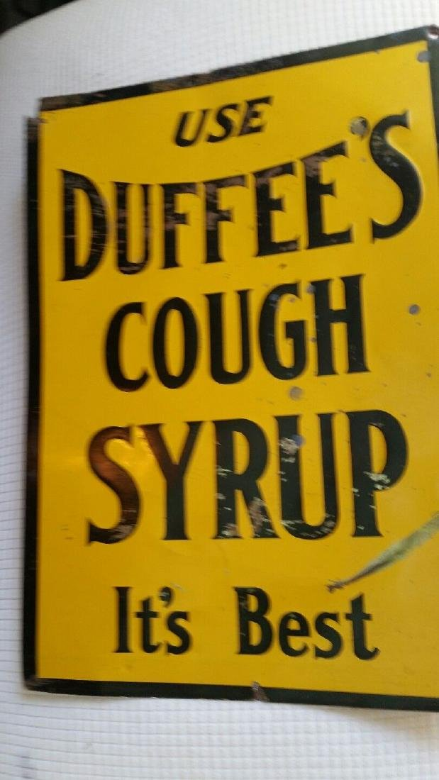 1920 Duffee's Cough Syrup Sign the Best Tin - 4