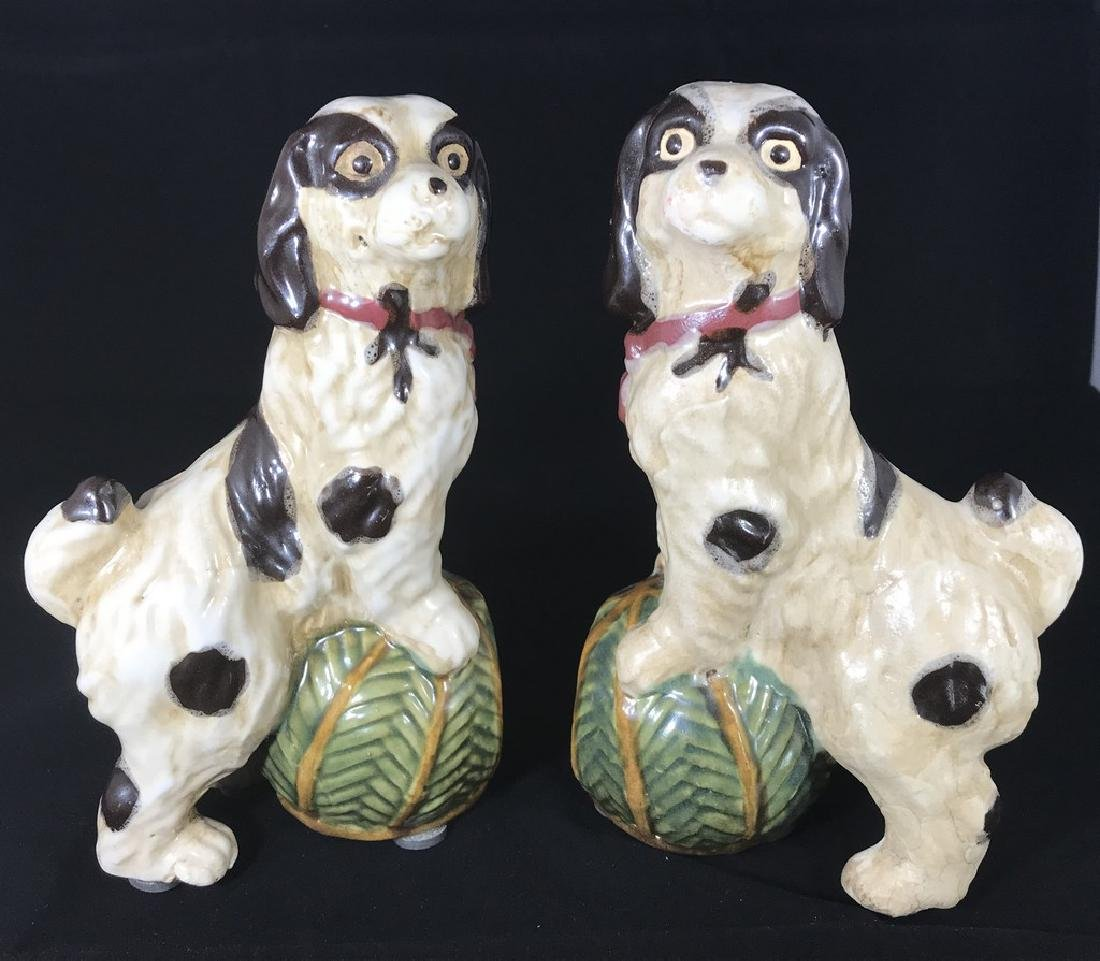 Pottery Dog Bookends Early 20th Century