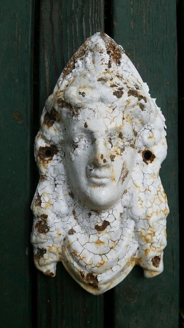 Antique Garden Cast Iron Urn Face