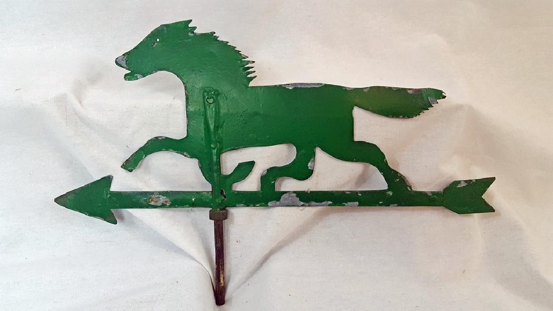 Small Green Sheet Iron Horse Weathervane Ca 1920's