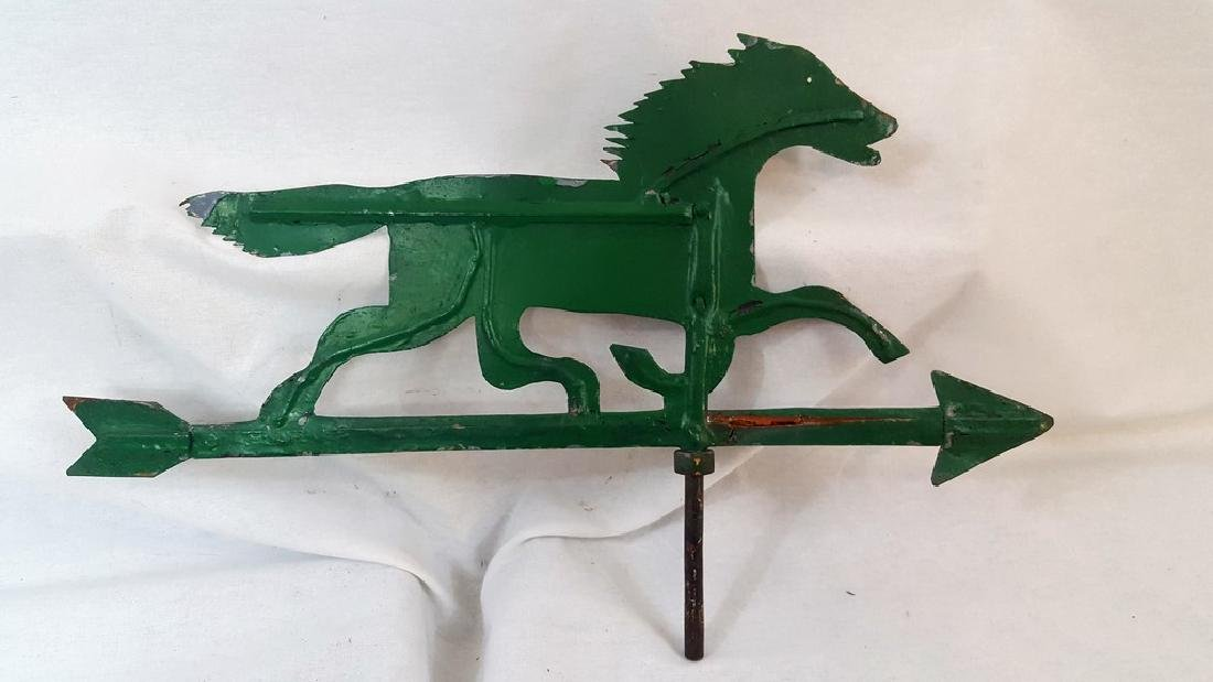 Small Green Sheet Iron Horse Weathervane Ca 1920's - 2