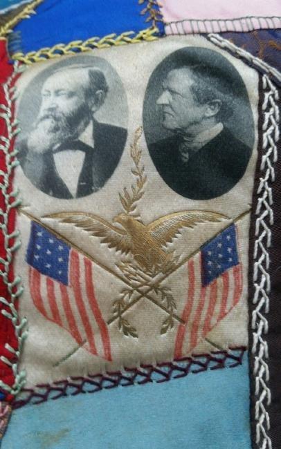 Rare Political Benjamin Harrison President Banner Quilt - 2