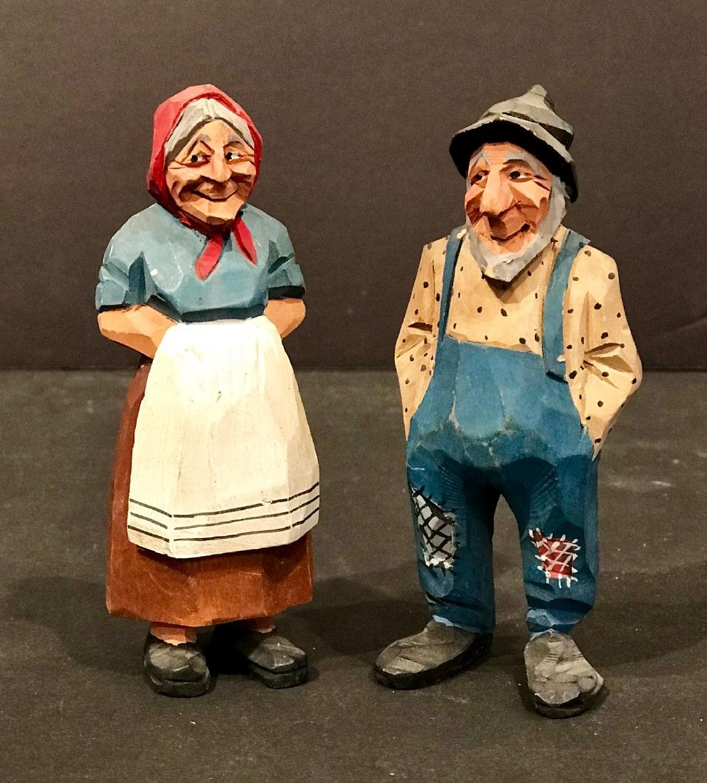 Pair of Carvings of Farmer & Wife, Early 20th Century