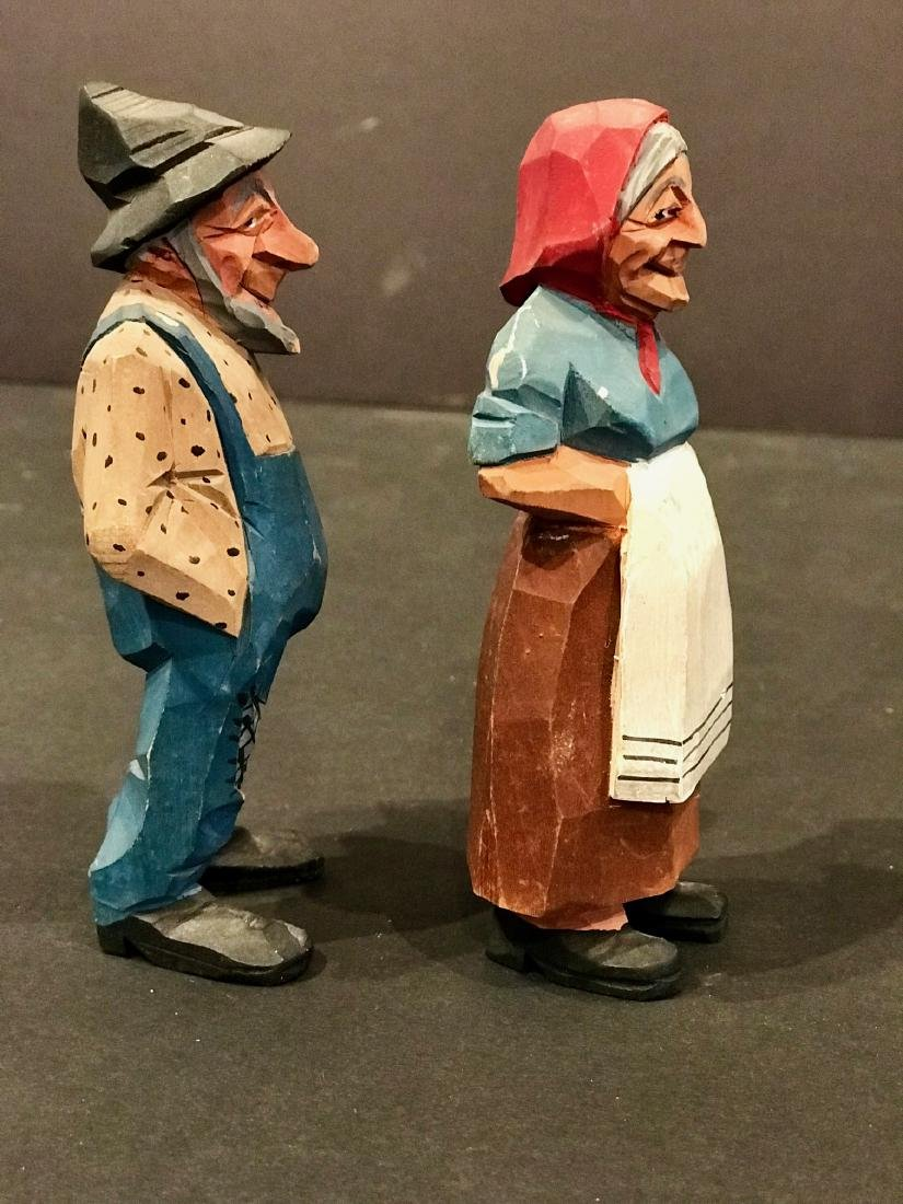 Pair of Carvings of Farmer & Wife, Early 20th Century - 7